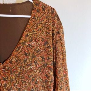 Autumn colored lined crepe blouse
